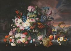 Still Life of Flowers and Fruit with a River Landscape in the Distance - Severin Roesen — Google Arts & Culture