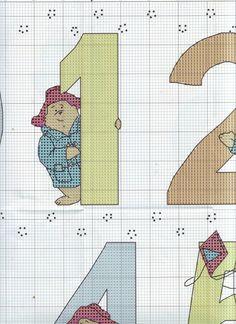 ru / Фото - The world of cross stitching 146 - tymannost Cross Stitch Numbers, Cross Stitch Cards, Cross Stitch Alphabet, Cross Stitching, Cross Stitch Embroidery, Cross Stitch Designs, Cross Stitch Patterns, Ours Paddington, Animal Crackers
