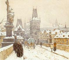 T.F.Simon ~ 'Charles Bridge and Hradcany in Winter', 1917