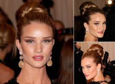 Rosie Huntington-Whiteley with an updo hairstyle