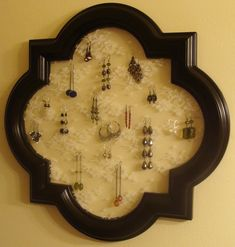 Homemade earring holder...frame from a mirror and lace!