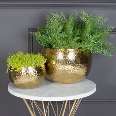 Hammered Plant Pots, Copper And Gold