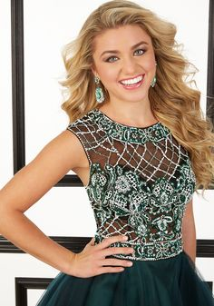 Beaded Net and Tulle Prom Dress Designed by Madeline Gardner. Zipper Back. Colors Available: Black/Teal, Black/Berry