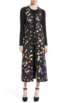 Main Image - Alice + Olivia Angelica Embroidered Long Vest