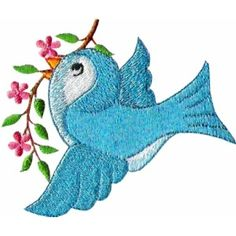 baby bird embroidery | ch04 - Little Bluebird Children's Embroidery Design - $2.99 : Golden ...