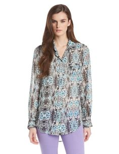 Two by Vince Camuto Women's Animal Print Boy Shirt Tunic, Rich Black, Small Two by Vince Camuto