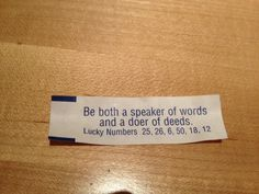 Be both a speaker of words and a doer of deeds