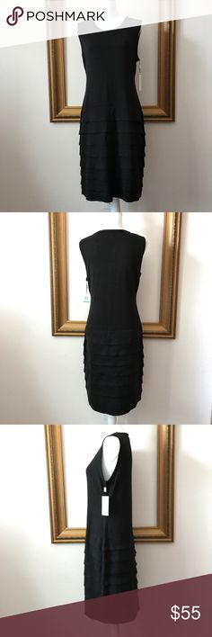 NWT Calvin Klein black sleeveless sweater dress, L Perfect basic classic comfy work dress. 19 inches armpit to armpit. 39 inches shoulder to bottom of dress. Calvin Klein Dresses