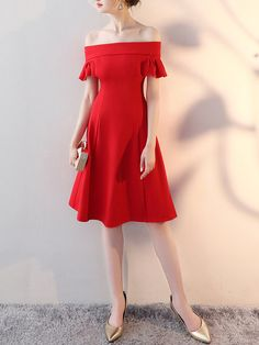 Chill Red Off-shoulder Swing Midi Dress