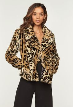 Cheetah Faux Fur Col