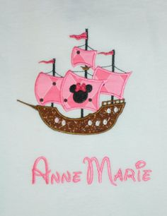 Custom Appliqued shirt Disney Pirate Ship by SewglitzyStudio, $22.00