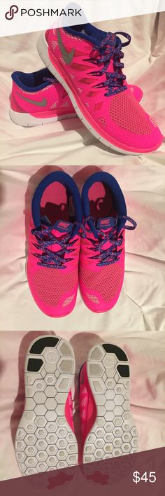 Hot Pink Nike Free 5.0 Women's 7.5/Youth 6.5 Hot Pink and Royal Blue Cheetah Print Nike Free 5.0. Youth Girls size 6.5 which is equivalent to Women's 7.5. I wear youth sizes all the time - they fit without the higher pricing! New, only worn once in doors. Super cute!                   Smoke-free ; dog-friendly ❤️ home. I ship same or next day!  Nike Shoes Sneakers