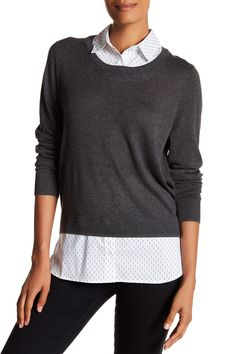 Twofer Shirttail Sweater by SUSINA on @nordstrom_rack