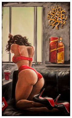 JEREMY WORST On Sight Johnnie Walker red Label by JeremyWorst art painting drawing print jack daniels she squats bro