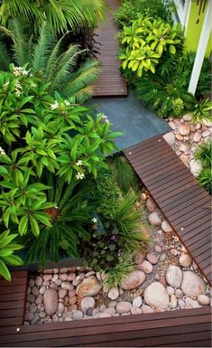 Rock Garden Ideas (A Guide on How to Build a Rock Garden Wood Deck Walkway Design Ideas For River Rock Landscaping River Rock Landscaping, Tropical Landscaping, Landscaping With Rocks, Modern Landscaping, Front Yard Landscaping, Landscaping Ideas, Patio Ideas, Garden Ideas, Backyard Ideas