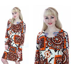 Mod Psychedelic Dress 1960s Abstract Orange by neonthreadsdesigns, $30.00