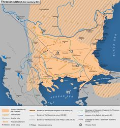 Map of the Thracian state, 5th to 3rd centuries BC.