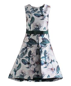 Another great find on #zulily! White & Green Melody Dress by London Dress Company #zulilyfinds