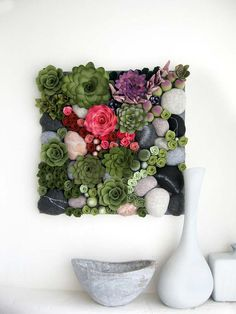 vertical garden felt plants arrangement.