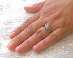 Gold ring summer Turquoise ring stacking ring vintage by Avnis, $25.00