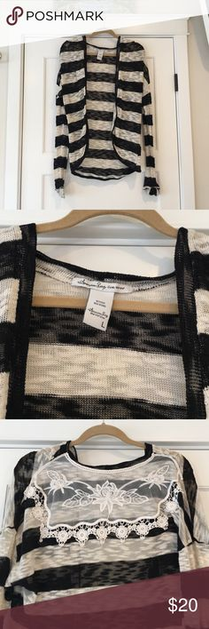 American rag black/white stripe lace back sweater Adorable sexy causal sweater. Funky and classy all at one. American Rag Sweaters Cardigans