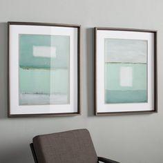 Azure Blue 2 Piece Framed Painting Print Set
