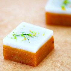 Talam Ubi (Steamed Sweet Potato Cake With Coconut Milk Lemongrass andKaffir Lime Leaves)