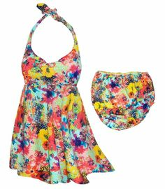 NEW!! 2 Piece Halter or Shoulder Strap Swimdress with matching bottoms - customize your order today! From Large to 8x -http://sanctuarie-net.stores.yahoo.net/ne2pimupaflp.html