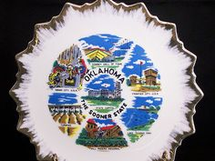 Vintage Oklahoma Sooner State Collector Porcelain Souvenir Plate Gold Trim  $9.99