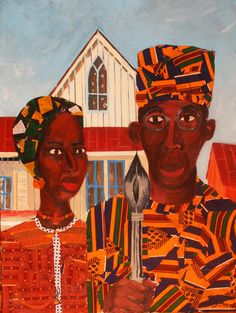 """dynamicafrica: """"African-American Gothic, by artist Jamilla Okubo. This painting was inspired by the iconic original Grant Wood American Gothic artwork that has been replicated and. African American Artist, African American History, American Artists, Caricatures, American Gothic Parody, American Quilt, Black Artwork, Afro Art, Black Artists"""