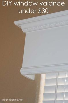 , Tutorial: How to make a wood valance window treatment , I have been staring at the blank window in my living room for a whole year now. I kept thinking about doing a window valance tutorial and then kept pu. Wooden Window Valance, Wooden Windows, Wooden Cornice, Wood Curtain, Curtain Rods, Curtain Pelmet, Bath Window, Window Curtains, Bedroom Curtains
