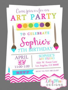 Art Party Invitation - Digital File by LillyMaeDesigns on Etsy https://www.etsy.com/au/listing/180008766/art-party-invitation-digital-file