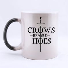 Funny High Quality Game of Thrones Jon Snow Mug - Crows Before Hoes Morphing Coffee Mug or Tea CupC @ niftywarehouse.com #NiftyWarehouse #Nerd #Geek #Entertainment #TV #Products