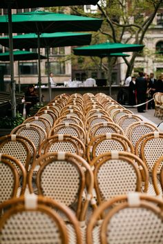 pretty cafe chairs for an outdoor ceremony in New York  Photography by http://lindsaymaddenphotography.com