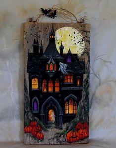 Halloween Wood Crafts, Halloween Sewing, Halloween Painting, Halloween Signs, Fall Crafts, Halloween Crafts, Halloween Ideas, Halloween Decorations, Rustic Halloween