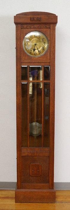 1920 Grandfather Clock German By Mauthe Working Noreserve