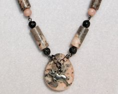 Rhodonite n Lava Rock Flying Pig Necklace by EclecticSkeptic, $38.00