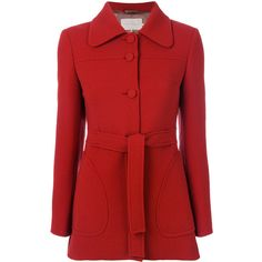 L'Autre Chose belted fitted coat (£485) ❤ liked on Polyvore featuring outerwear, coats, red, fitted coat, l'autre chose, belted coat and red coat