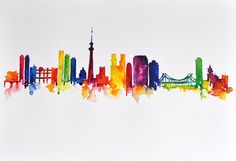 ORIGINAL Abstract Skyline Watercolor Painting 14x20 Inch, Colorful Tokyo Skyline, Rainbow Painting
