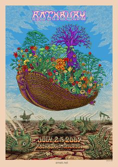 DESIGNER:  Emek    Designer Posters  VENUE:  Rothbury  Rothbury  MI  USA    BANDS:  Bob Dylan  Pretty Lights  Guster  Kid Cudi  Willie Nelson  Grateful Dead  Les Claypool  Black Crowes, The  Brett Dennen  Toots & The Maytals  Yonder Mountain String Band  Martin Sexton  String Cheese Incident  Jackie Greene  Govt Mule  G. Love & Special Sauce  Ani Difranco  Sts9  Son Volt  Eoto  White Buffalo, The