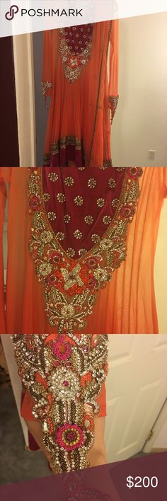 Anarkali (Traditional Indian outfit) Exquisitely heavy work on this burnt orange and fuchsia anarkali ( long A line top) with crystal work and beads on net. Has a long slip with it and beautiful orange and fuchsia dupatta. Pants are churidaar ( like leggings) style. From India (Mumbai) latest design. Size 4-6. Worn once for 2 hours, it's in brand new condition ! Phenomenal for weddings ! Dresses Wedding