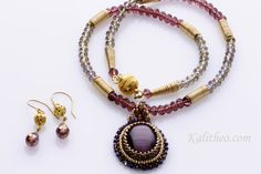 """Statement Necklace - Handmade In AU - Free Shipping AU - Vintage Inspired - Bead Embroidery Pendant Necklace - Gift for Women - KTC-273    Agatha Necklace is vintage inspired design with a modern look.    Dazzling cats eye cabochon, bead embroidery pendant, with tiny Delica seed beads in antique gold,  and gold. tiny crystals in iridescent purple blue.    When you purchase the pendant you also receive as a gift the matching earrings.    The length of this stunning pendant necklace is 21"""" or…"""
