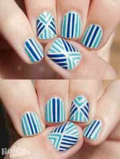 Two tone stripe nail design