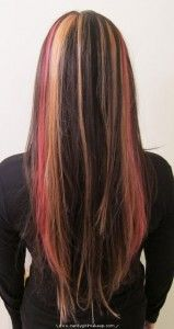 brunette hair with red and blonde streaks - Bing Images Pink Streaks, Blonde Streaks, Red Blonde, Brown Hair With Blonde Highlights, Pink Highlights, Natural Hair Styles, Long Hair Styles, Hair Color And Cut, Brunette Hair