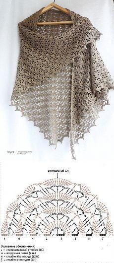 Crochet Collar Pattern, Crochet Shawl Diagram, Gilet Crochet, Granny Square Crochet Pattern, Knit Crochet, Crochet Doilies, Crochet Stitches, Crochet Patron, Russian Crochet