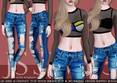 JS SIMS: [JS SIMS 3] Fishnet Top With Bikini Top & Working Denim Ripped Jeans