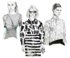 Fashion illustration of patterned looks from the FW13 runway; fashion drawing // Lux Singer
