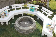 DIY Fire Pit Bench with Step by Step Insructions - Keeping it Simple Crafts Fire Pit Bench, Fire Pit Swings, Fire Pit Seating, Fire Pit Area, Garden Fire Pit, Diy Fire Pit, Fire Pit Backyard, Fire Pit Furniture, Diy Outdoor Furniture