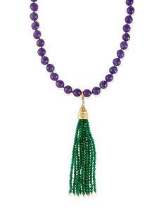 Himalaya Two-Tone Agate Tassel Necklace, Purple/Green