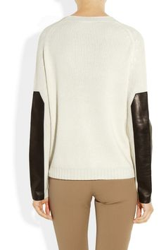 Leather-trimmed cashmere sweater, by Reed Krakoff